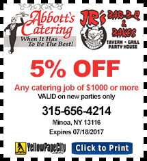 Abbott's Catering / Jr's Bar-B-Q & Bakes Coupon